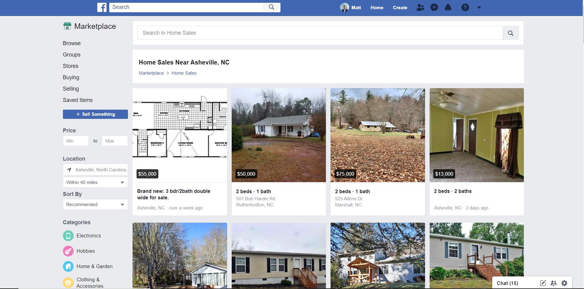 facebook marketplace home sales