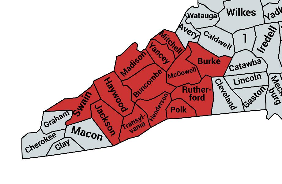Western North Carolina map