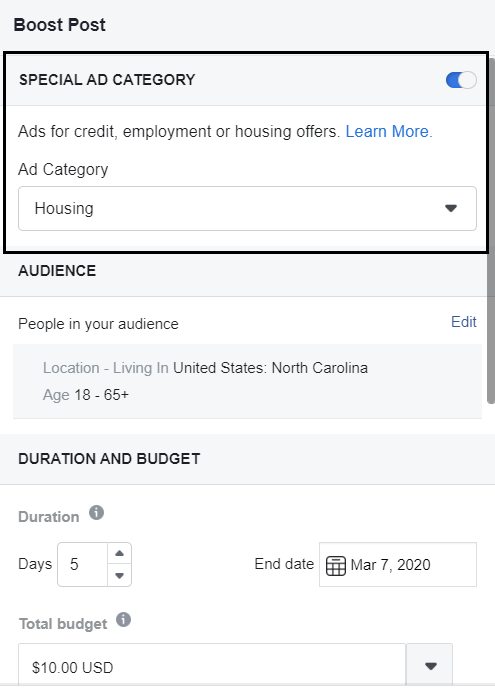 facebook housing category