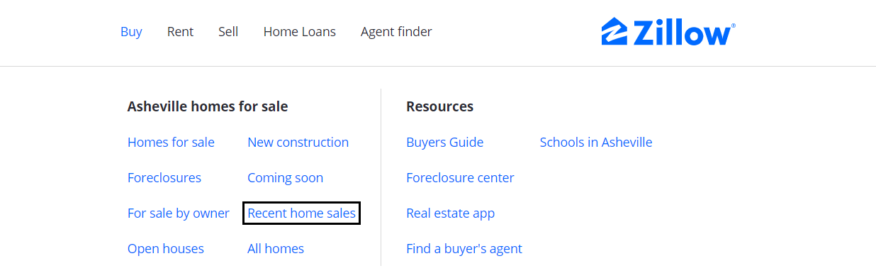 Zillow asheville home sales